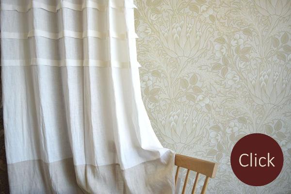 リネン3段タック切り替えしデザインカーテン