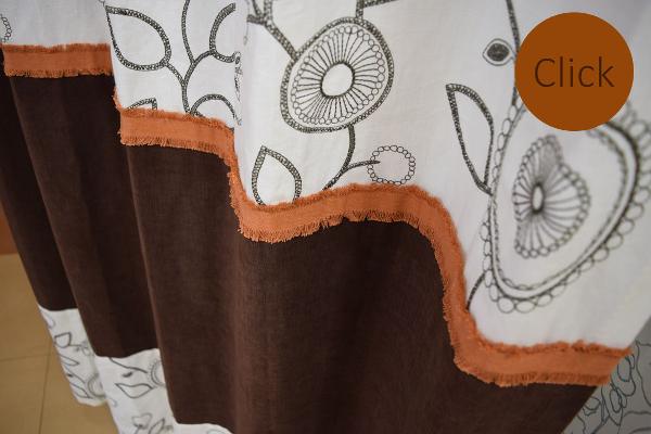 レトロ刺繍ナチュラルデザインカーテン