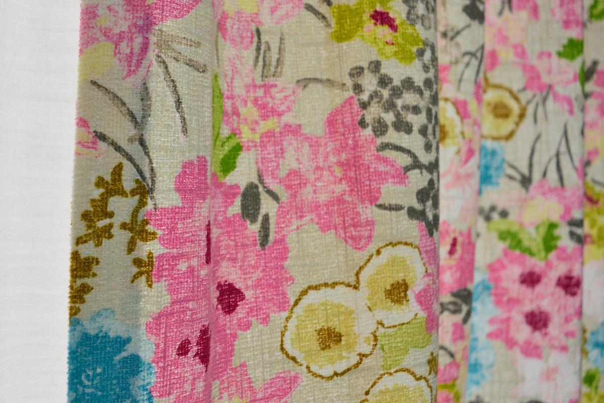 イギリス製花柄プリントカーテン