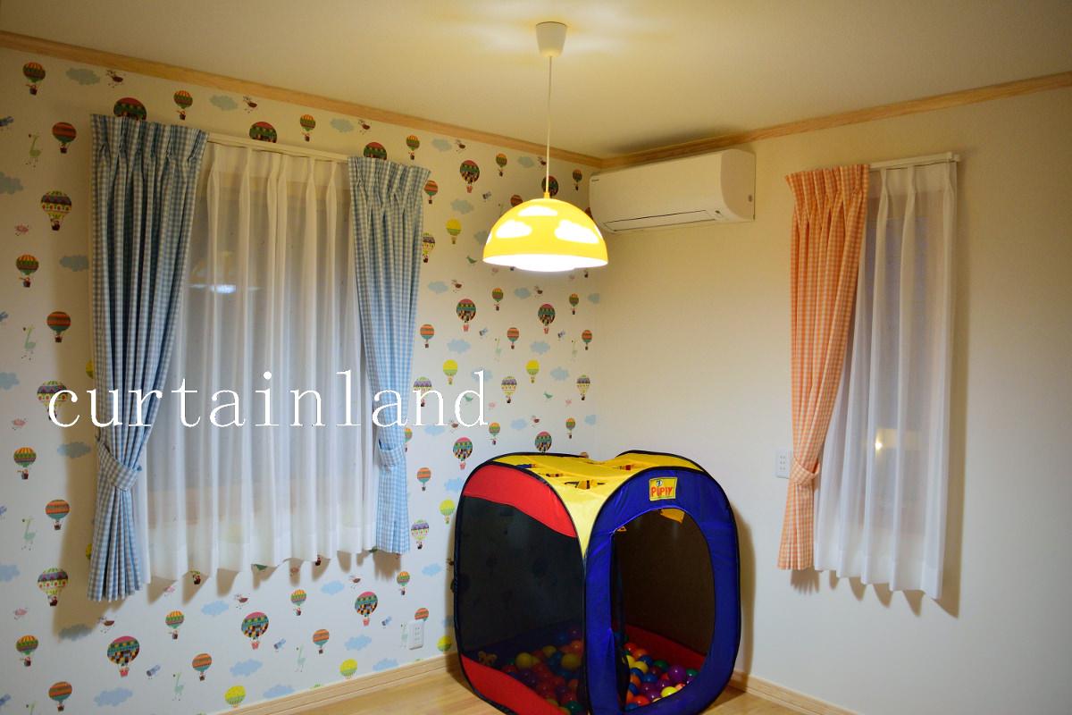 子供室カーテンチェックブルー
