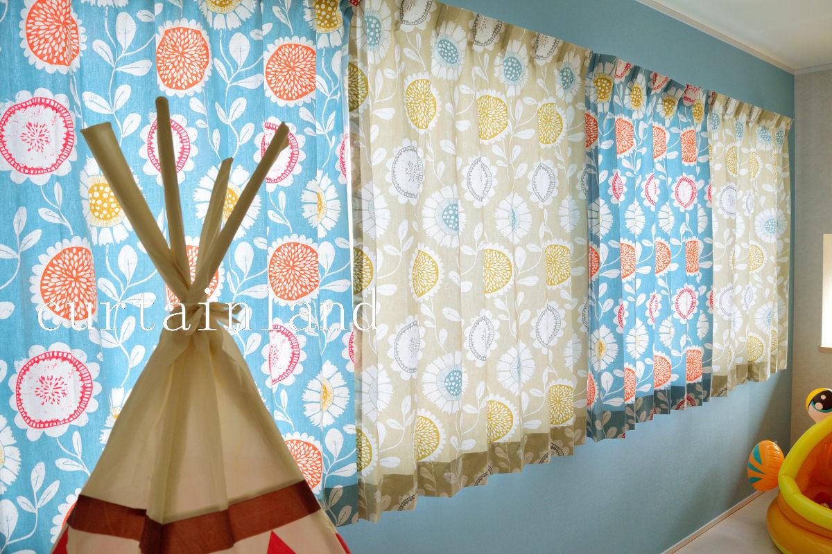 子供室プリントカーテン