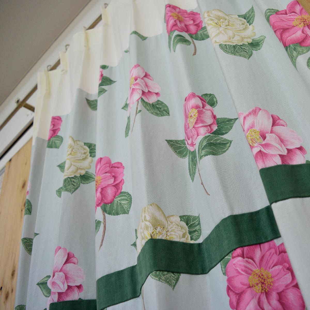 アイボリーグリーン花柄カーテン