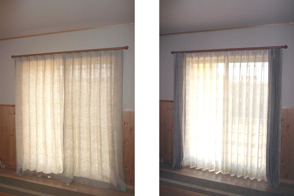 グレーリネンカーテン丈+10mm