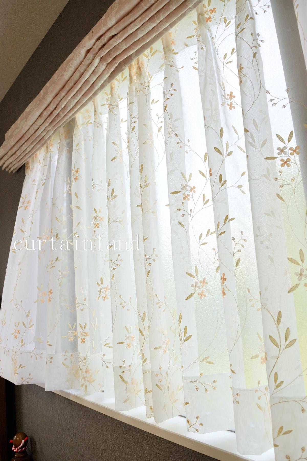 コーラルピンクレースカーテン