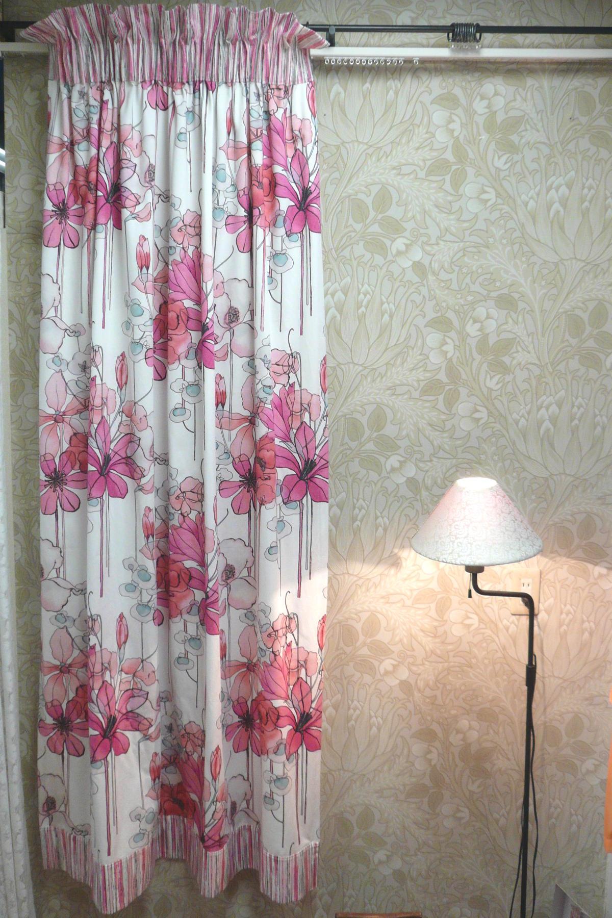 ブルー&ピンクトップフリルスタイルカーテン