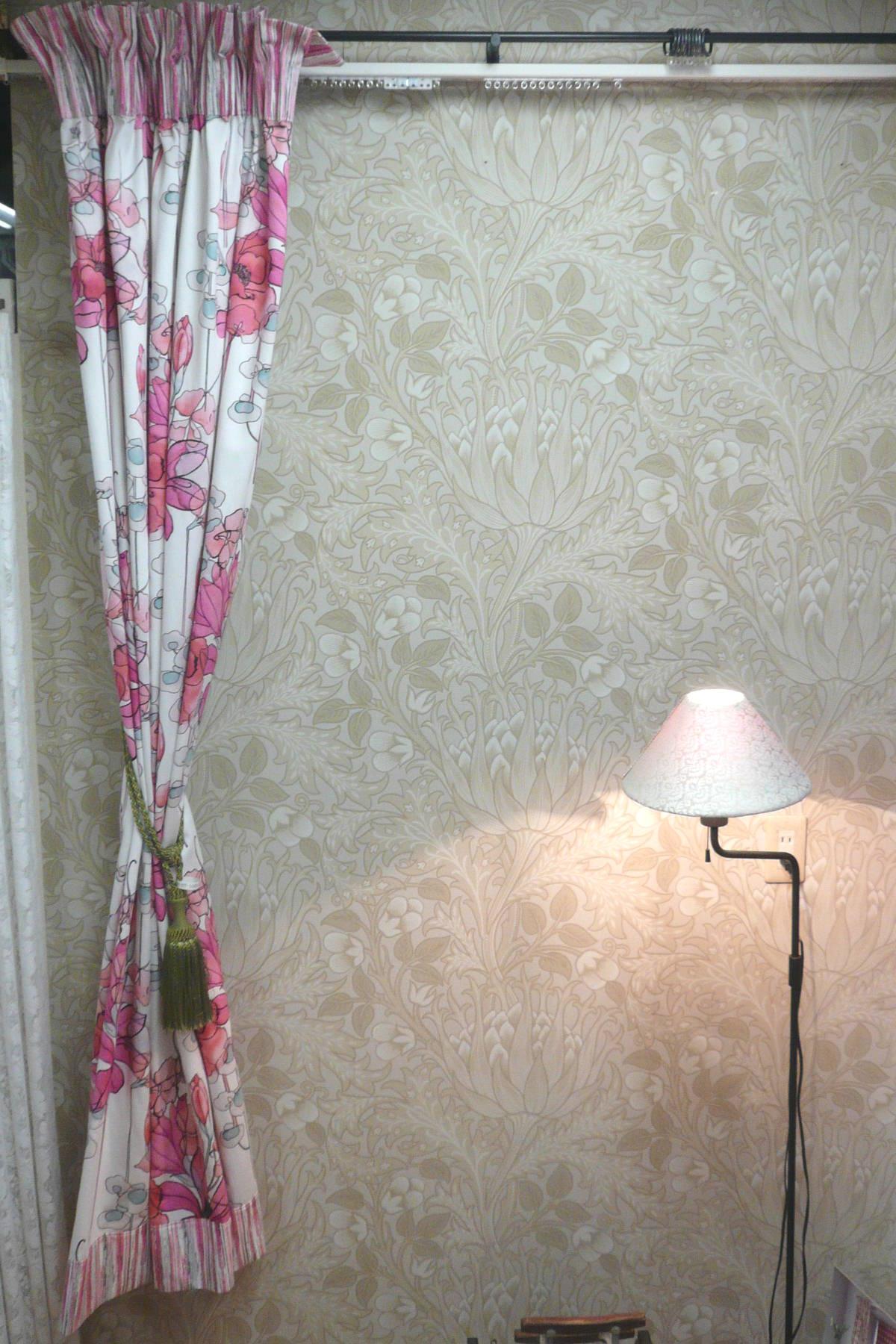 ストライプ&フラワー バイカラーカーテン