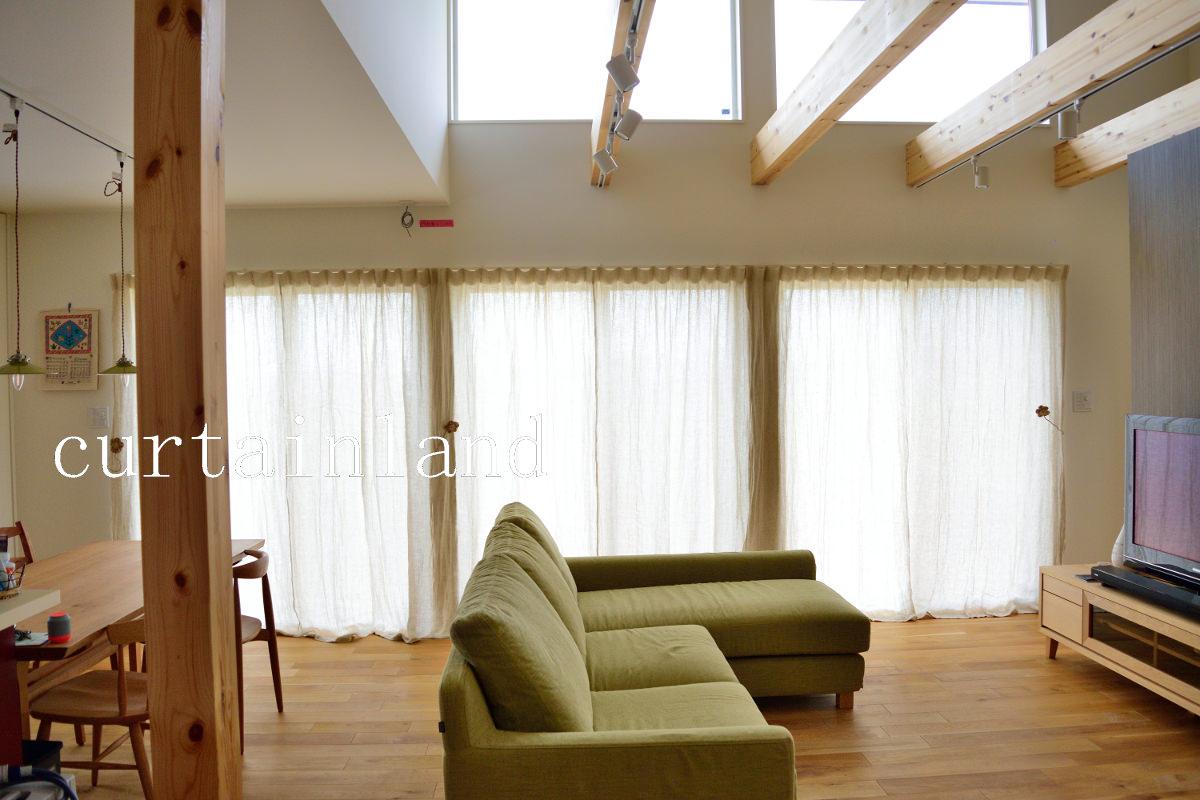 3窓並びの掃出窓のカーテン