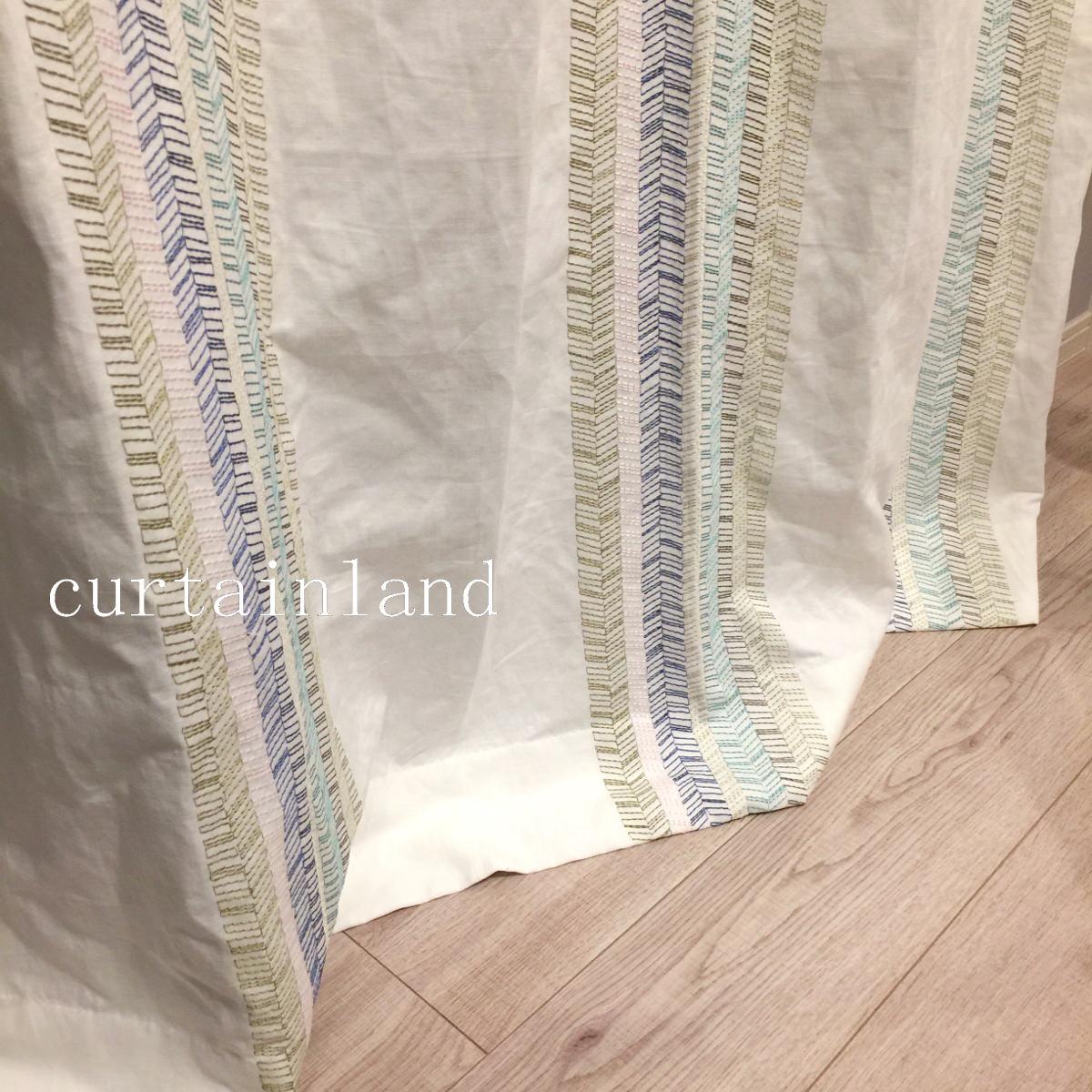 ヘリンボーン刺繍カーテン