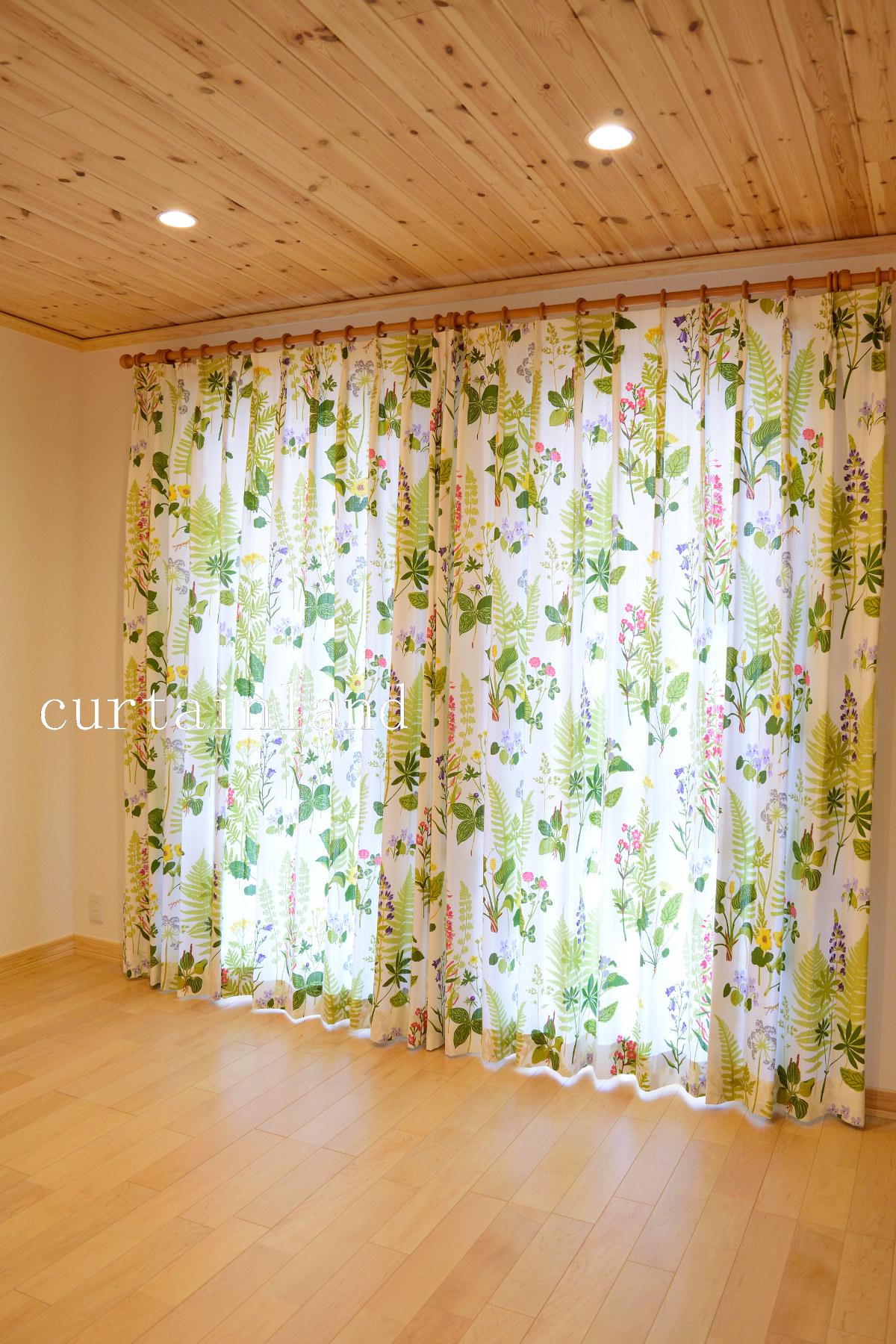 スウェーデンハウス花柄カーテン