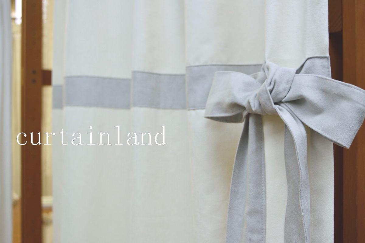 ライトグレーのアクセントリボンカーテン