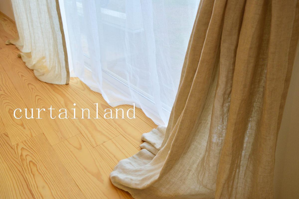 リネンレースカーテンは床に少しつく長さ