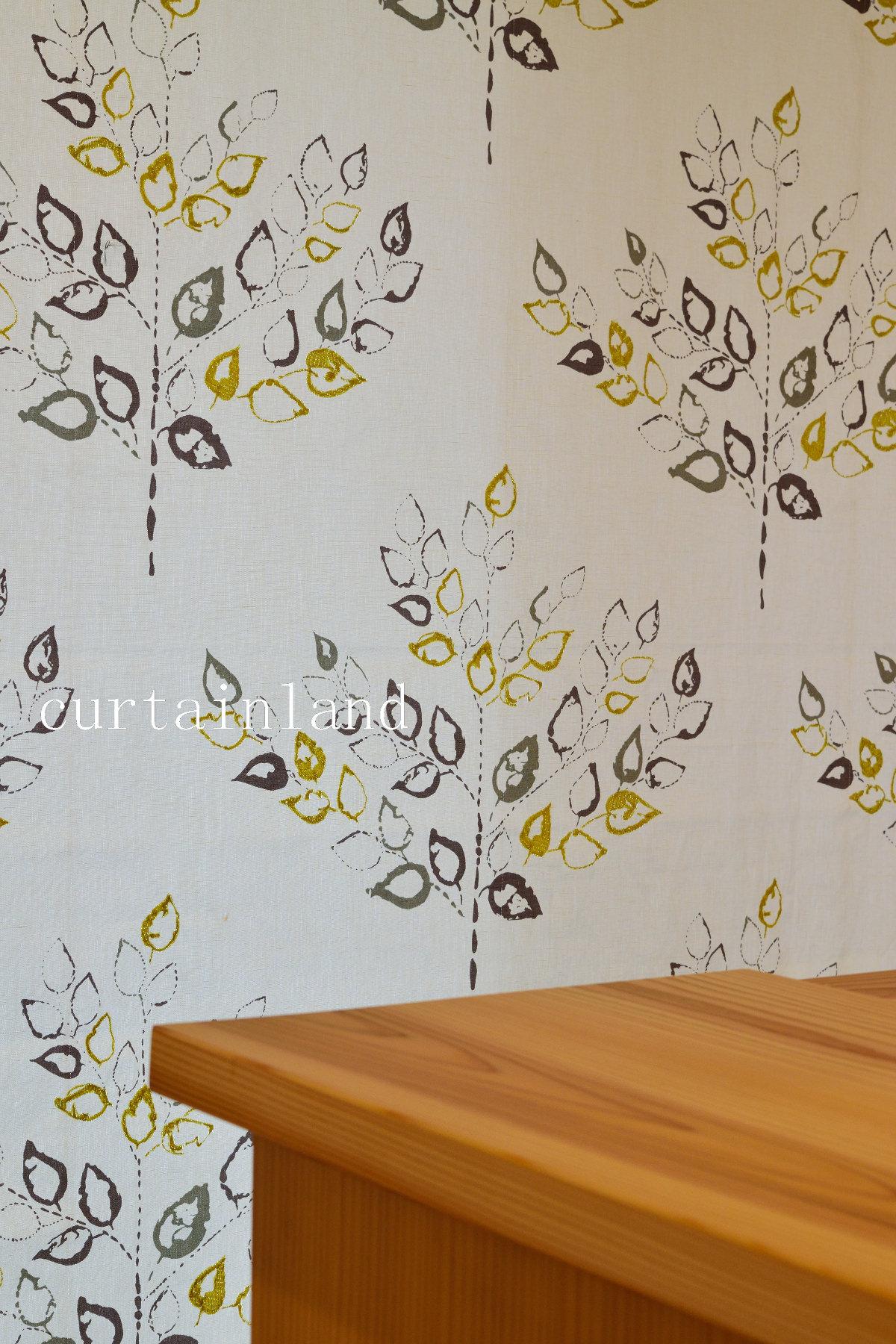 ヴィラノヴァ葉っぱ柄刺繍プレーンシェード