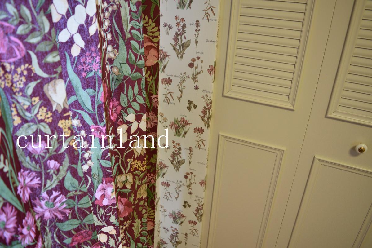花柄カーテンと花柄クロス
