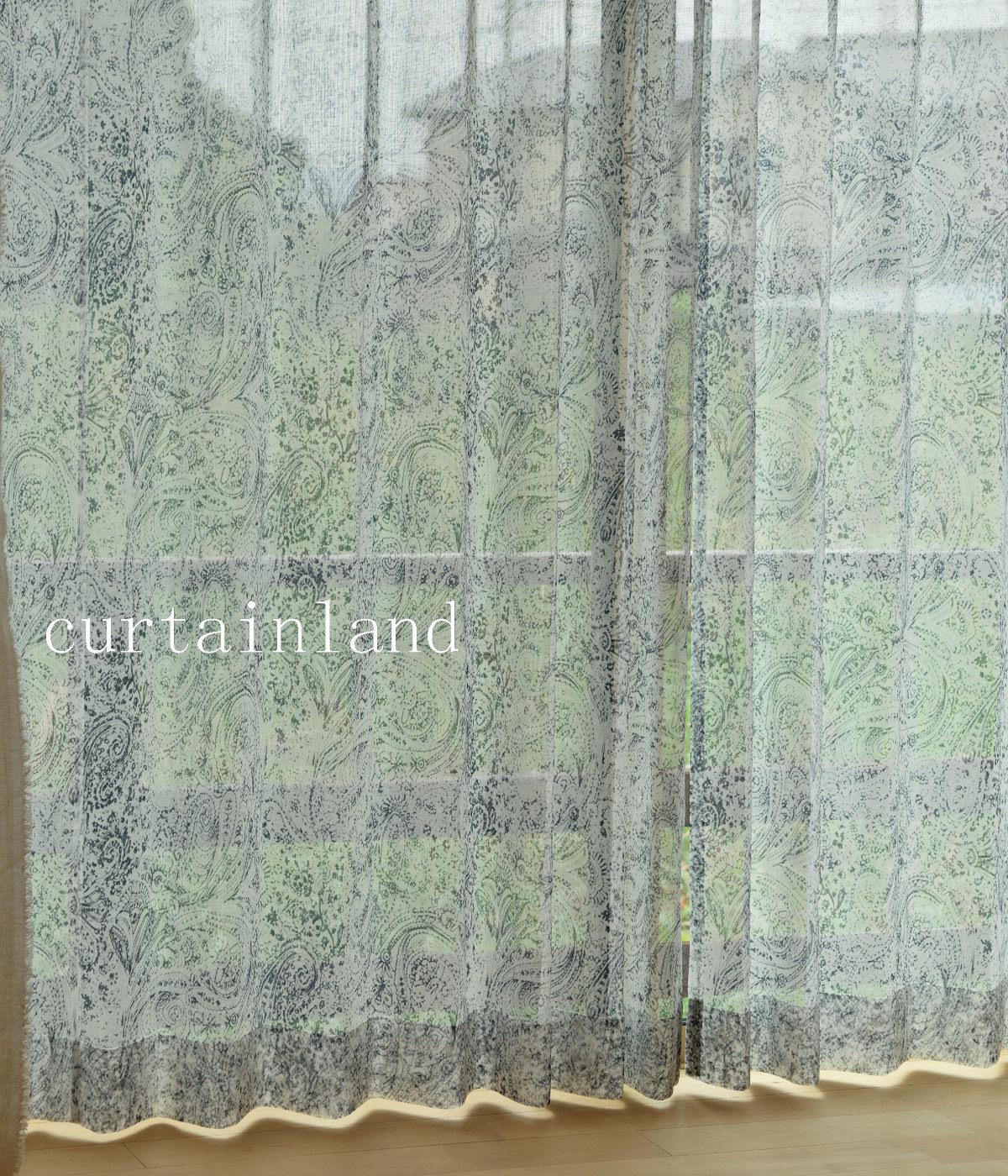 リネンライクのネイビーレースカーテン