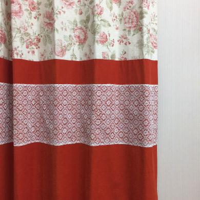 バイカラーレース付きカーテン