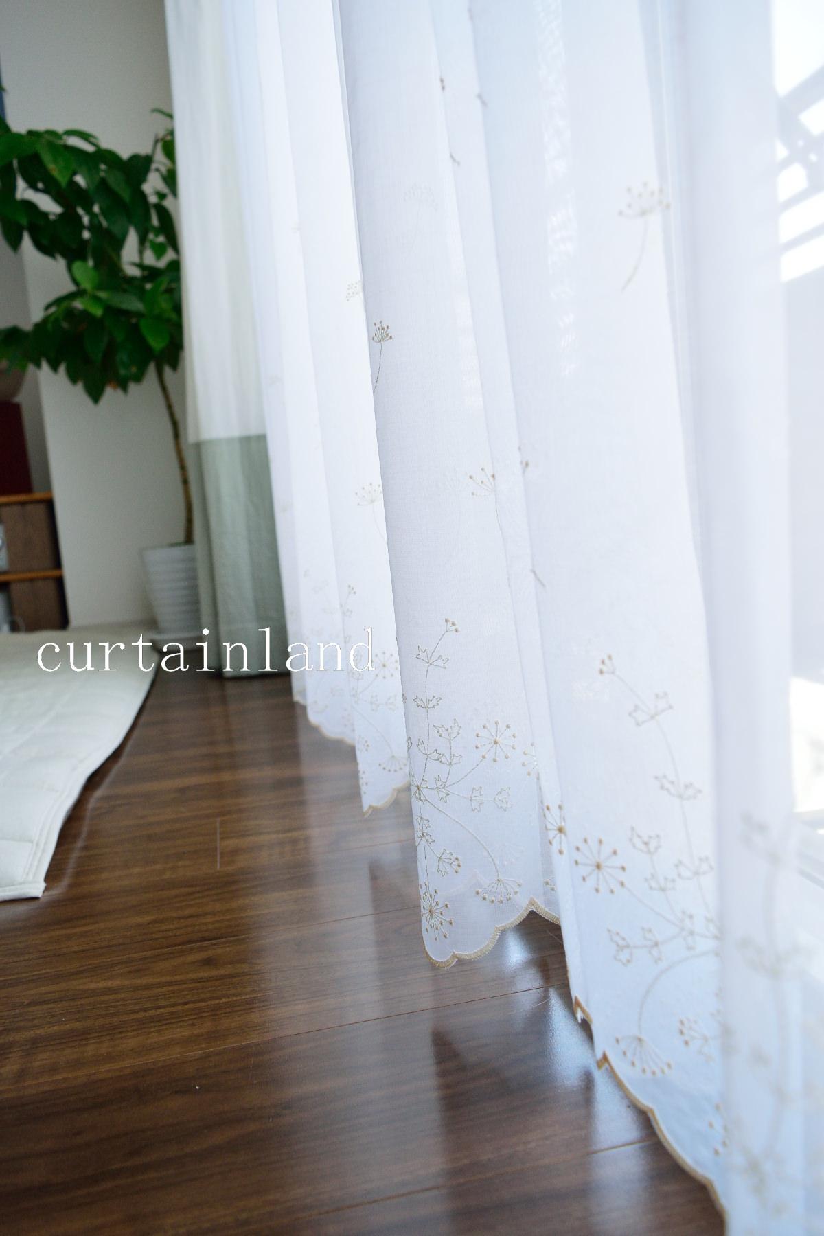 裾刺繍レースカーテン