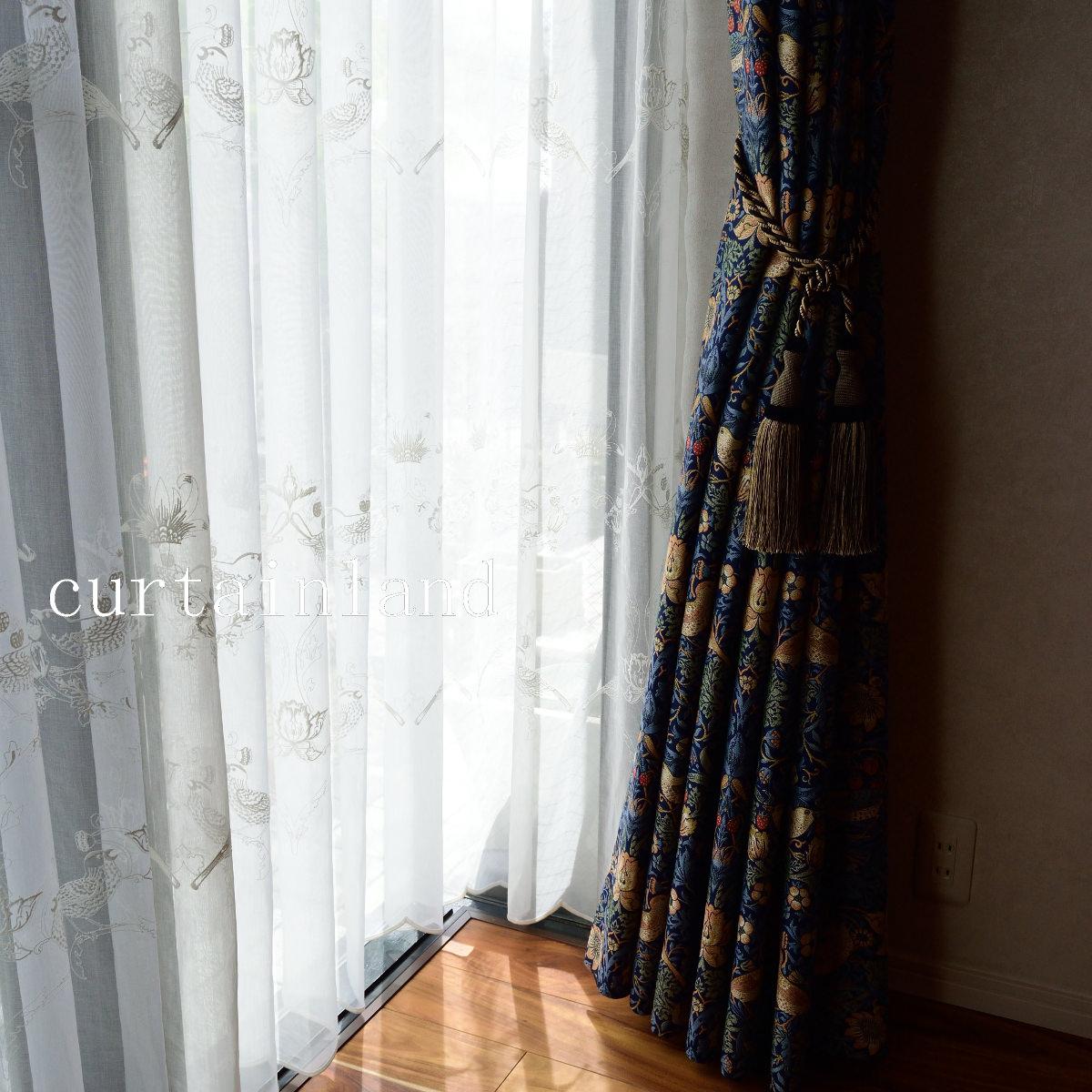 いちご泥棒刺繍レースカーテン