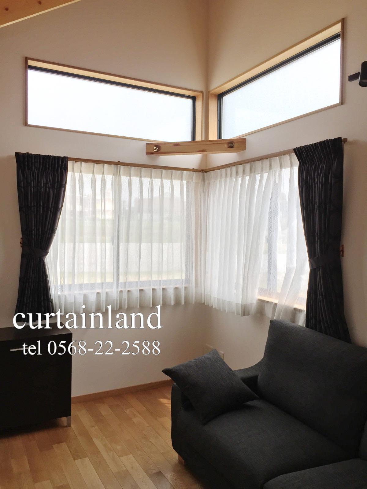 L型窓にカーテン