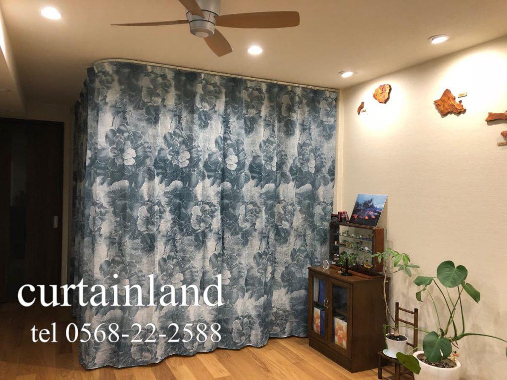 ハワイアンな花柄プリントレースカーテン