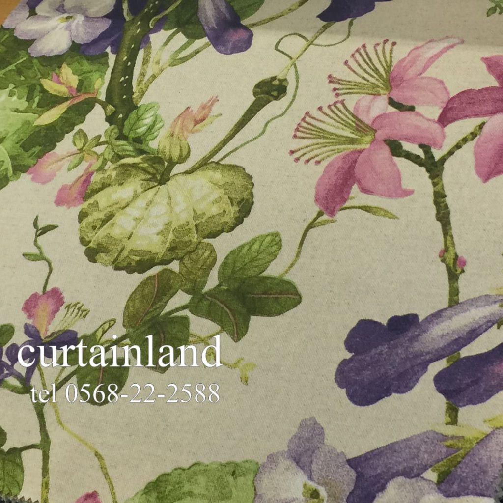 麻と綿の花柄プリント