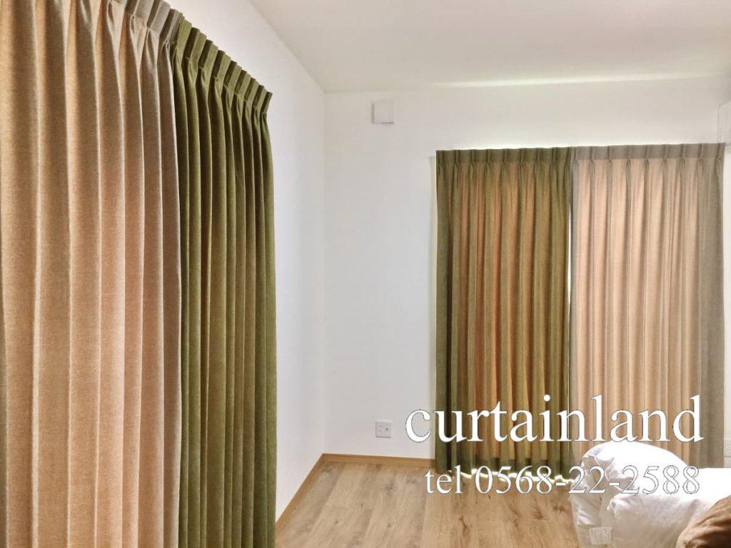 左右非対称のアシンメトリーカラーカーテン