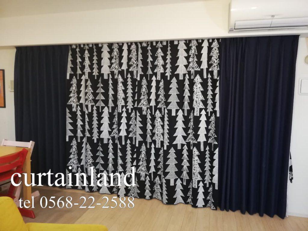 ツリー柄の北欧プリントカーテン