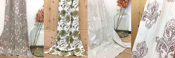リフリン 刺繍リネンカーテン