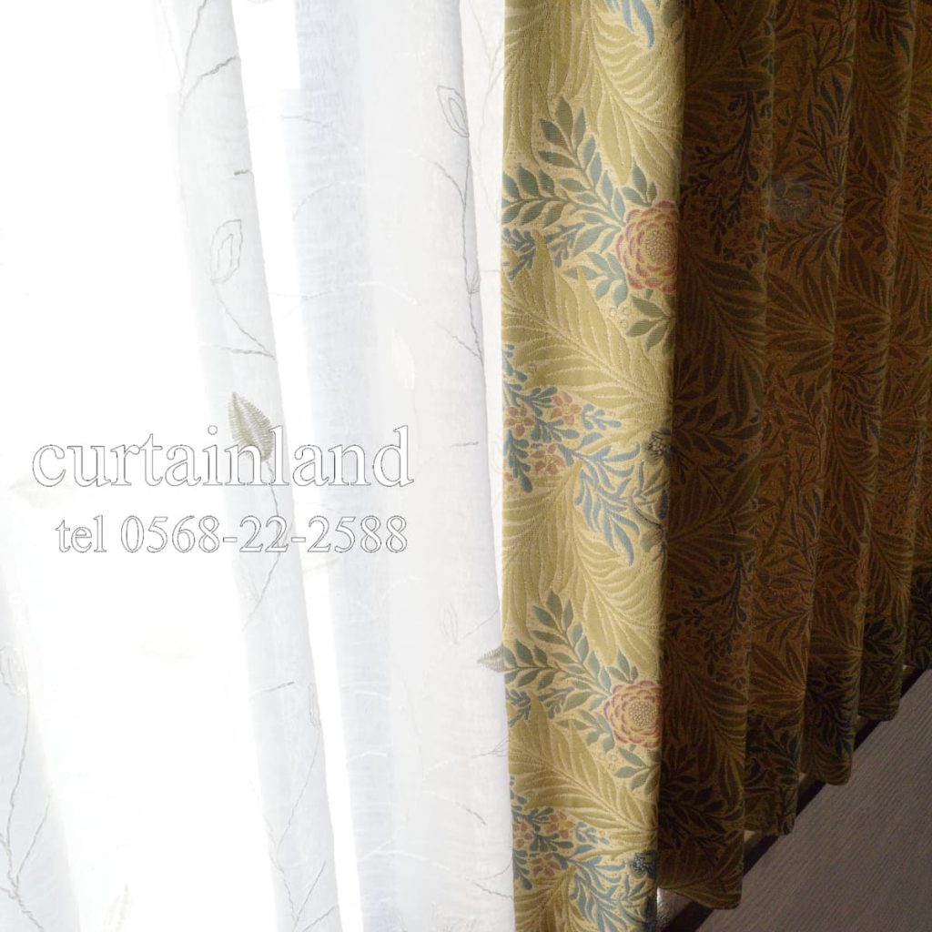 ウィリアムモリスのカーテンと刺繍レースカーテン