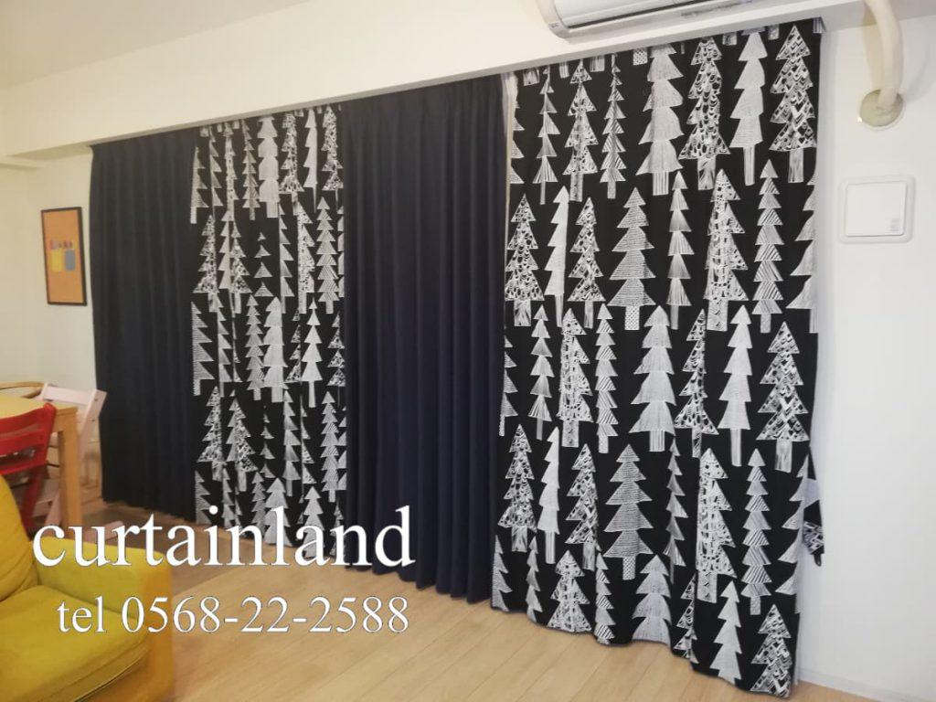 北欧のツリー柄のカーテン