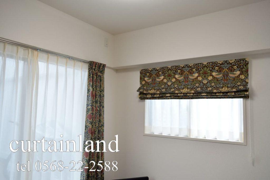 モリス ヴァインのカーテンといちごどろぼうのプレーンシェード