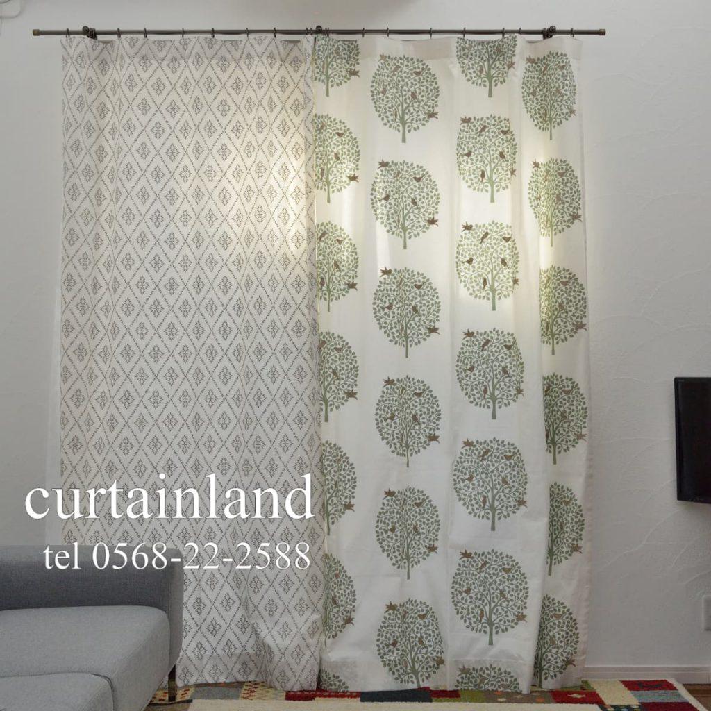 左右で異なる柄のカーテンを掛けるアシンメトリーコーデ