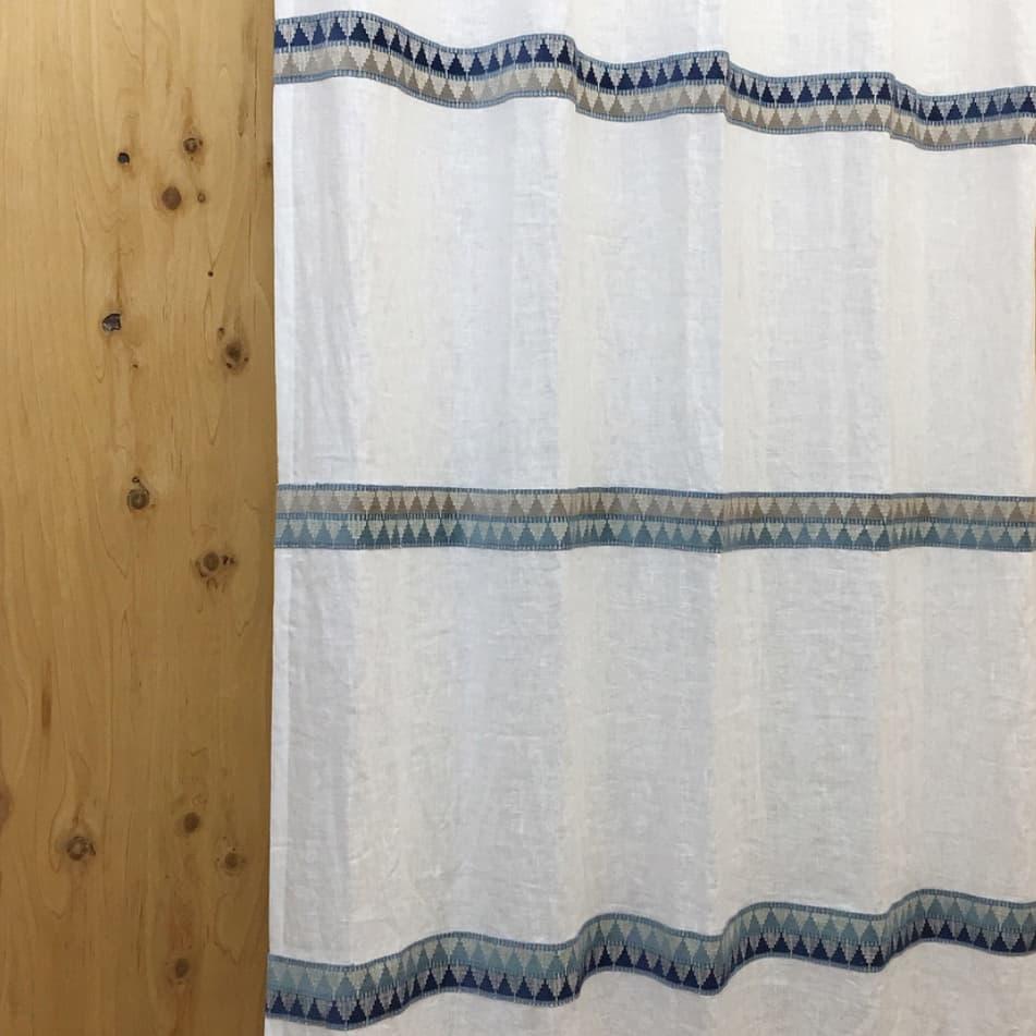 ジャガード スリーボーダーデザインカーテン