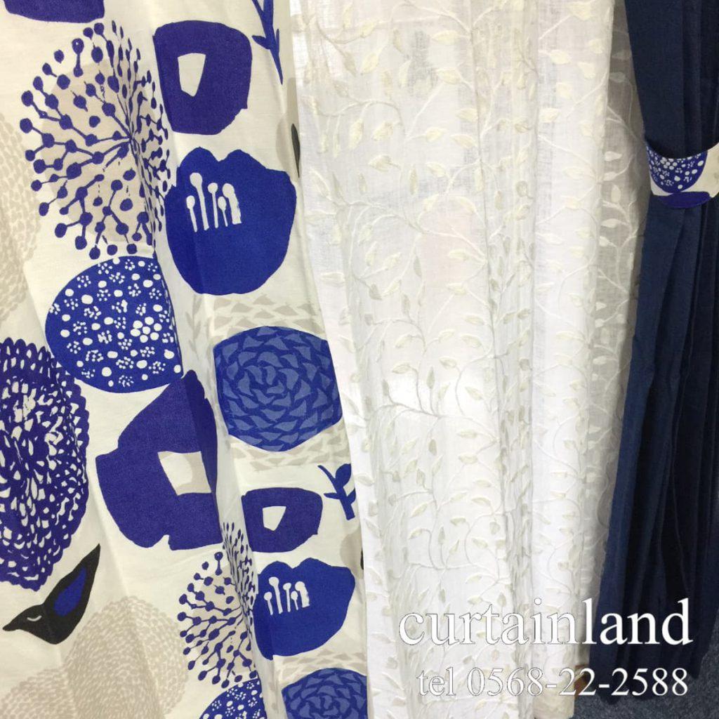 カウニステと刺繍リネンレースとネイビーリネンカーテン