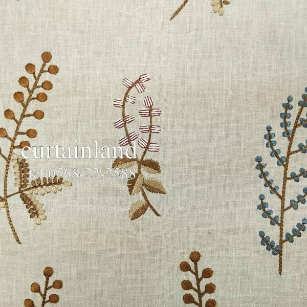 イギリス製製草花の刺繍生地